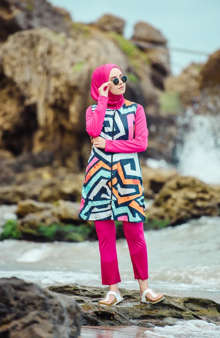 01 Fushia De Hijab Bain Imprimé Maillot 1865 54RL3jqA