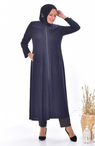 معطف جاكار طويل بتصميم مقاسات كبيرة 4365 A-03 لون كحلي 4365A-03