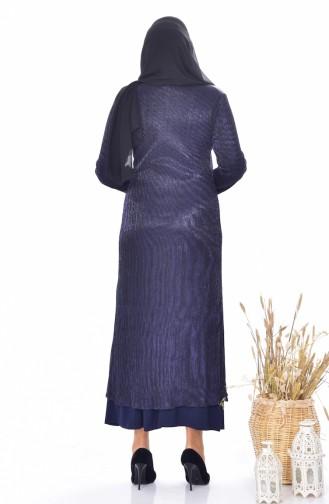 Robe avec Collier Grande Taille 1061-01 Bleu Marine 1061-01