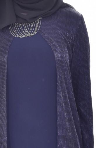 Large Size Necklace Dress 1061-01 Navy Blue 1061-01