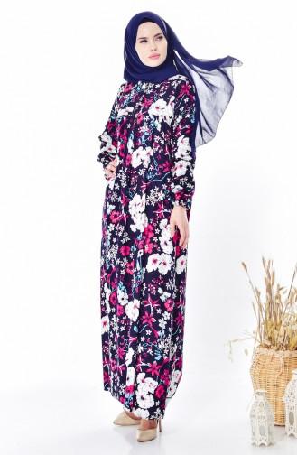 Çiçek Desenli Elbise 4005B-01 Lacivert