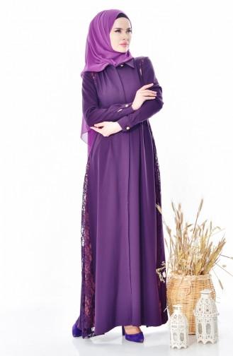 Lace Detailed Abaya 28416-02 Purple 28416-02