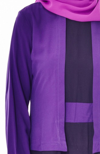 فستان بتصميم من قطعتين 5739-08 لون بنفسجي 5739-08