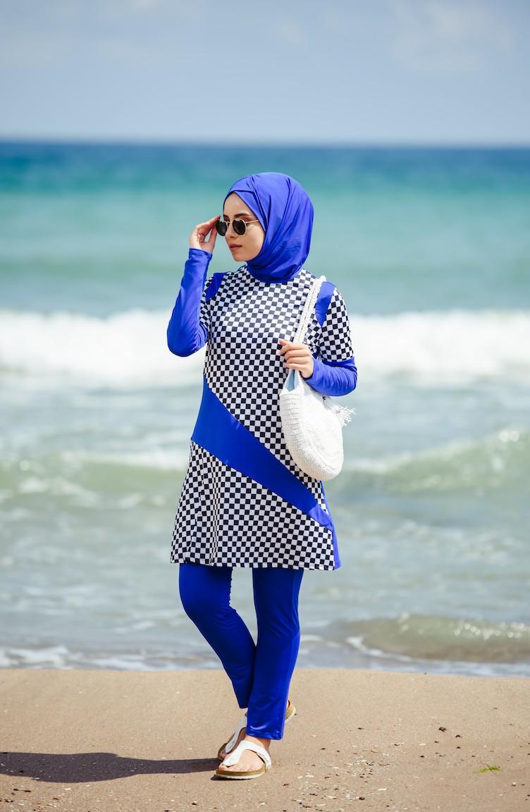 Bain Roi Maillot A De Carreaux 02 Hijab 1851 Bleu vnwm80NO