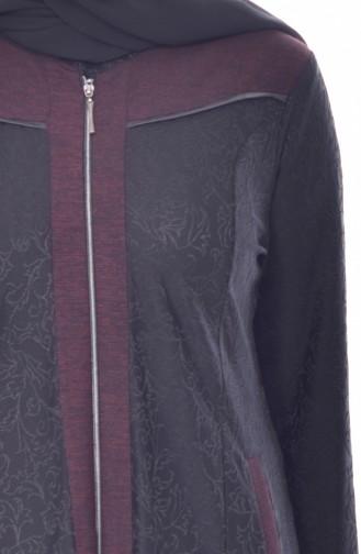 Large Size Jacquard Overcoat 4365A-04 Black 4365A-04