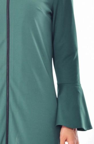 عباءة بتصميم أكمام واسعة 3313-02 لون أخضر 3313-02