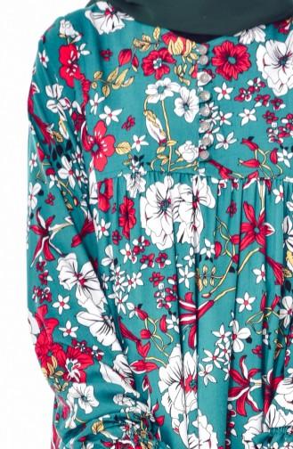 Flower Patterned Dress 4005B-03 Green 4005B-03