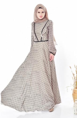 Desenli Fırfırlı Elbise 28308-02 Zümrüt Yeşili 28308-02