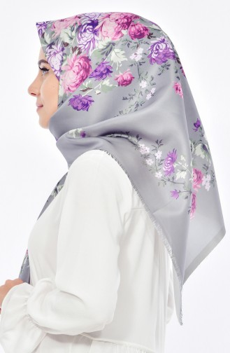 Digital Printed Taffeta Scarf 95207-06 Gray 06