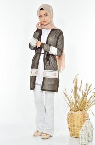 Embroidery Cardigan 0717-01 Khaki 0717-01