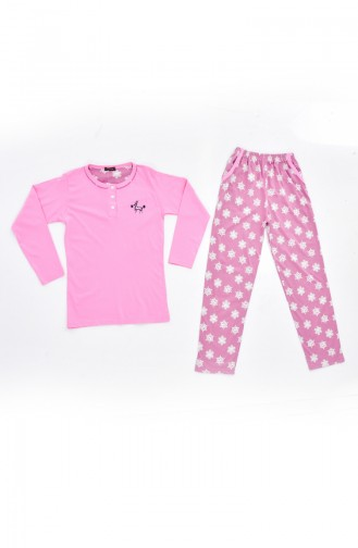 Embroidered Pajamas Suit 0515-03 Pink 0515-03