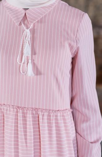 Çizgili Bağcıklı Elbise 1373-04 Pudra 1373-04
