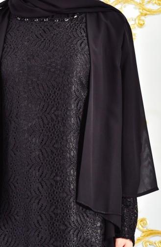 Habillé Hijab Noir 3015-02