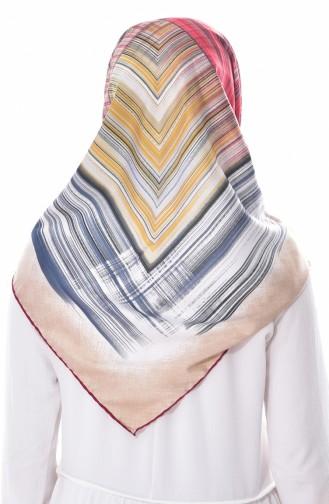 Gestreiftes Kopftuch aus Kunstseide BNJLEABlO-11 Weinrot Grau 11