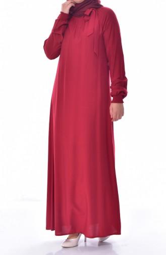 Kolu Lastikli Elbise 3002-03 Bordo 3002-03