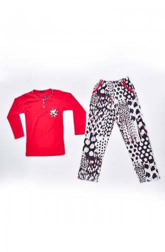 Schlafanzug mit Stickerei 0520-04 Rot 0520-04