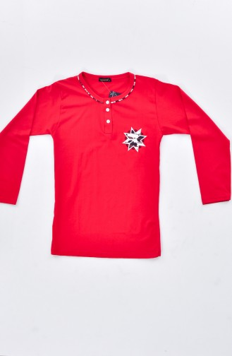 Embroidered Pajamas Suit 0520-04 Red 0520-04
