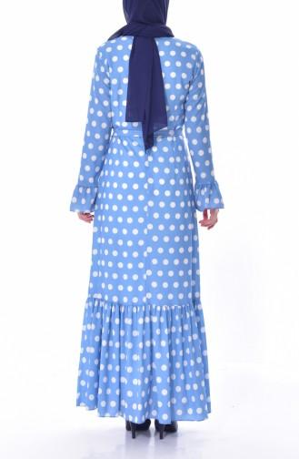 Puantiyeli Kuşaklı Elbise 60644-02 Mavi 60644-02