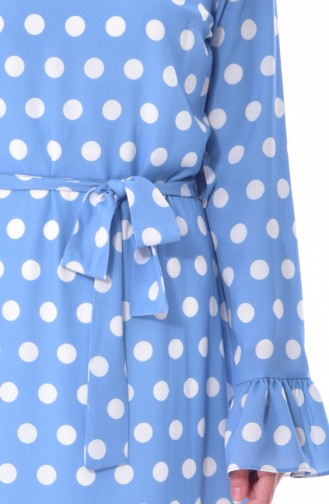 فستان مُنقط بتصميم حزام خصر 60644-02 لون أزرق 60644-02