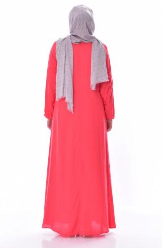 Kolu Lastikli Elbise 3002-01 Mercan 3002-01