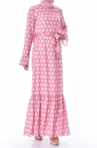فستان مُنقط بتصميم حزام خصر 60644-03 لون وردي 60644-03