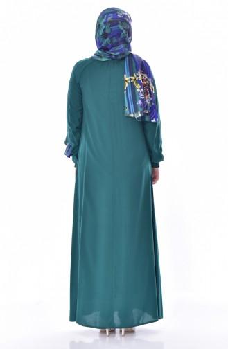 Kolu Lastikli Elbise 3002-02 Zümrüt Yeşili 3002-02