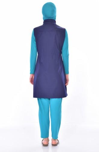 Zippered Swimsuit 7340-04 Navy Khaki 7340-04