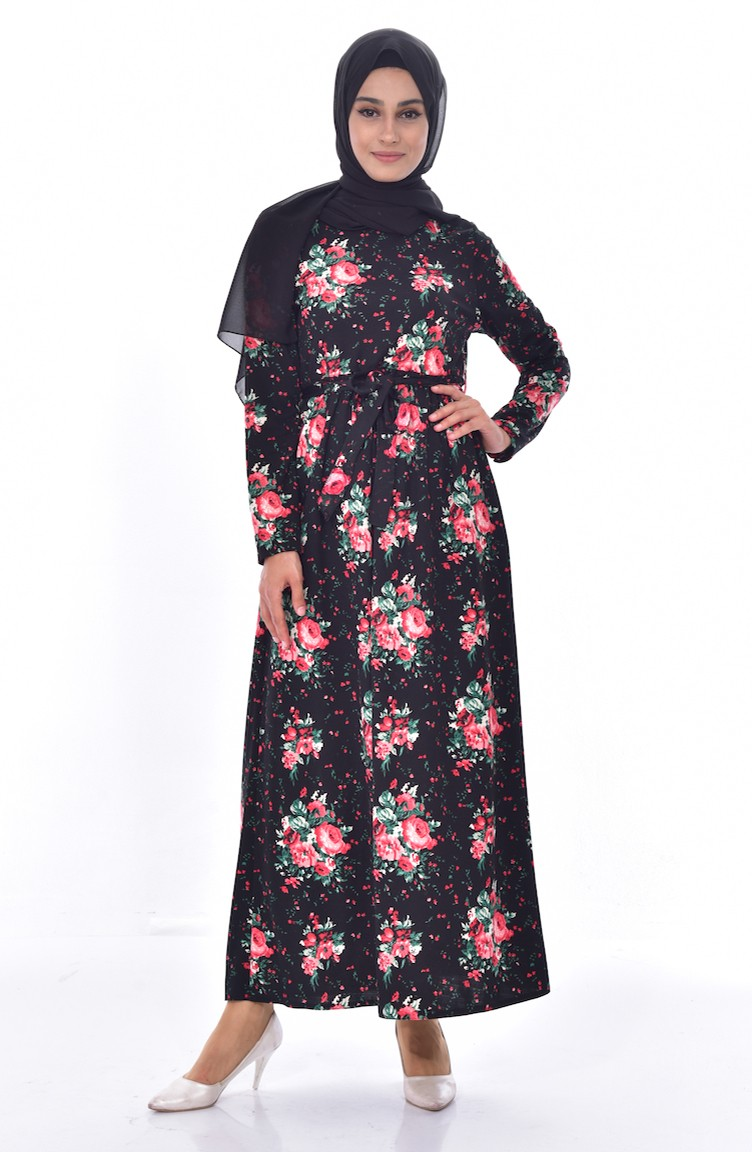 3bec95b421dcd Çiçek Desenli Kuşaklı Elbise 5040A-01 Siyah Kırmızı 5040A-01