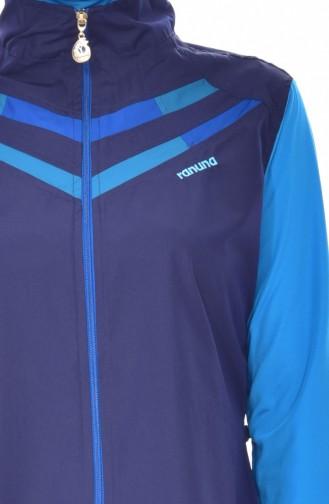 Zippered Swimsuit 7340-01 Navy Blue Oil 7340-01