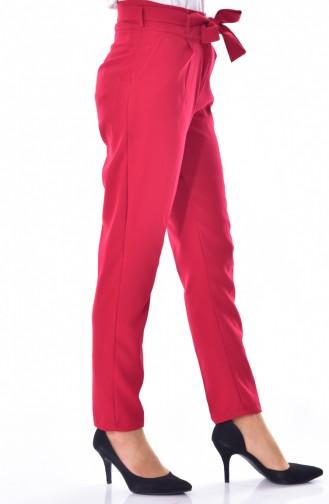 Belted Straight Hem Trousers 0002-01 Bordeaux 0002-01