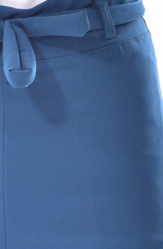 Kuşaklı Bol Paça Pantolon 0001-01 Petrol 0001-01