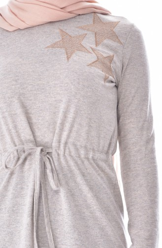 Beli Büzgülü Spor Elbise 2911-09 Bej 2911-09