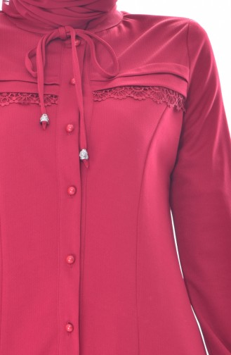 Laced Buttoned Tunic 2001-01 Claret Red 2001-01