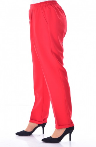 Large Size Waist Elastic Pants 3115-06 Red 3115-06
