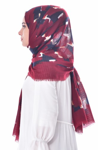 AKEL Thin Square Shawl 001-311-83 Bordeaux Navy Light Beige 001-311-83