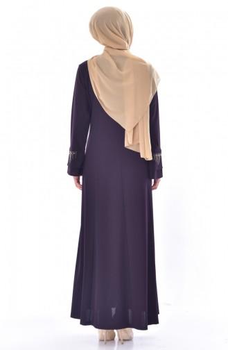 Büyük Beden Taş Baskılı Elbise 1033-01 Mürdüm 1033-01