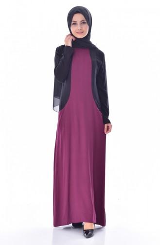 فستان بتصميم جيوب 4470-06 لون ارجواني 4470-06
