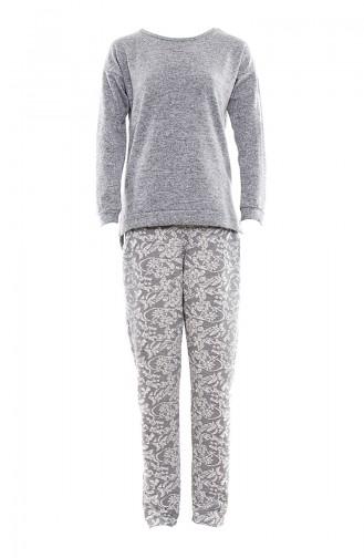 Anıl Bayan Uzun Kol Pijama Takım MAN9500-01 Füme