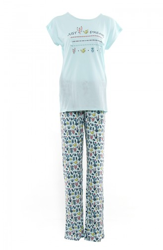 Women´s T-Shirt Pajamas Suit MAN9518-01 Green 9518