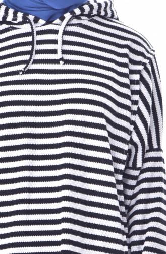 Stripe Hooded Sport Tunic 4850-01 Black White 4850-01