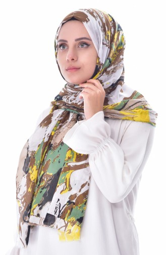 AKEL Wavy Patterned Cotton Shawl 001-350-14 Green 001-350-14