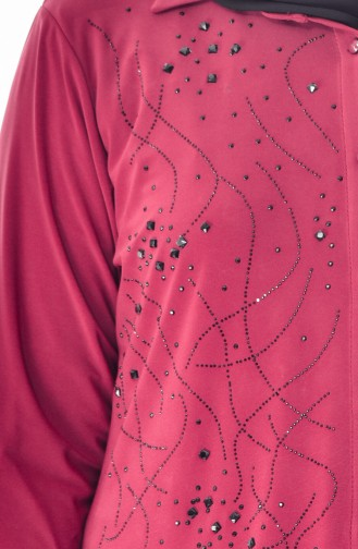 قميص بتصميم مُطبع بأحجار لامعة وبمقاسات كبيرة 3608-11 لون خمري فاتح 3608-11