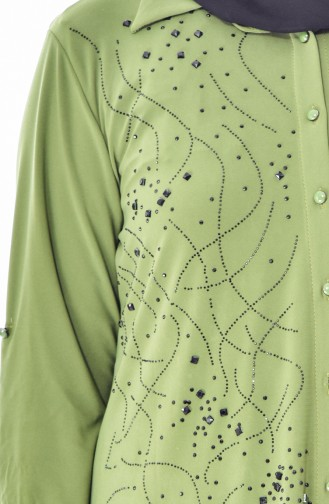 Large Size Stone Printed Shirt 3608-06 Light Khaki Green 3608-06