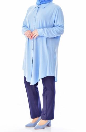 Büyük Beden Düğmeli Tunik 2000-04 Bebe Mavisi 2000-04