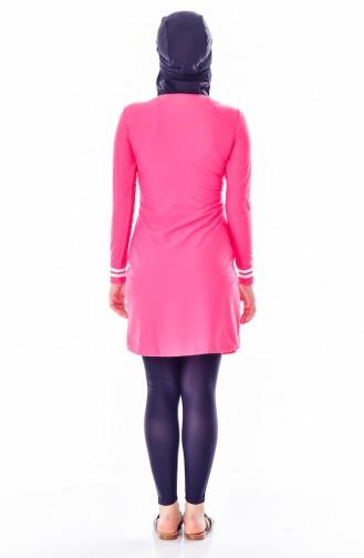 ملابس سباحة للمحجبات بتصميم مُخطط  1007-05 لون فوشيا 1007-05