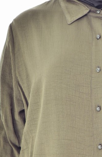 تونيك بتصميم أزرار بمقاسات كبيرة 2000-01لون أخضر كاكي 2000-01