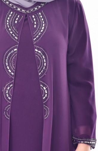 Large Size Stone Printed Dress 1045-01 Purple 1045-01