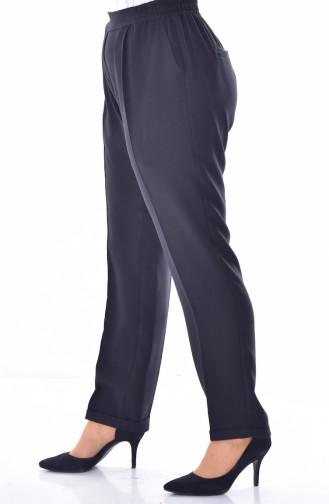 Übergröße Hose mit Gummi 3115-07 Schwarz 3115-07
