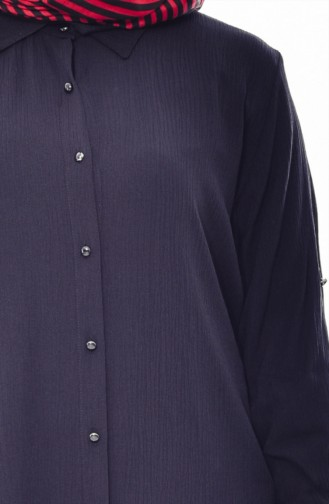 Large Size Buttoned Tunic 2000-02 Black 2000-02