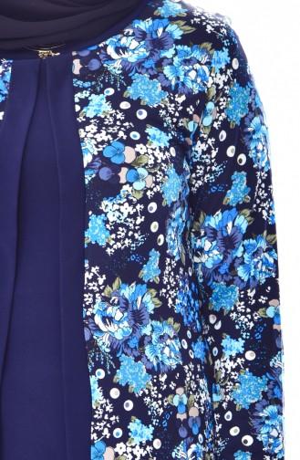 Blouse Garnie a Motifs Grande Taille 4750B-03 Bleu Marine Turquoise 4750B-03